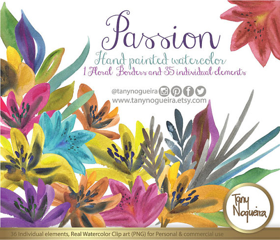 Passion Colorful Flowers Watercolor, Clipart, PNG, Hand Painted, Party, For  Invitations