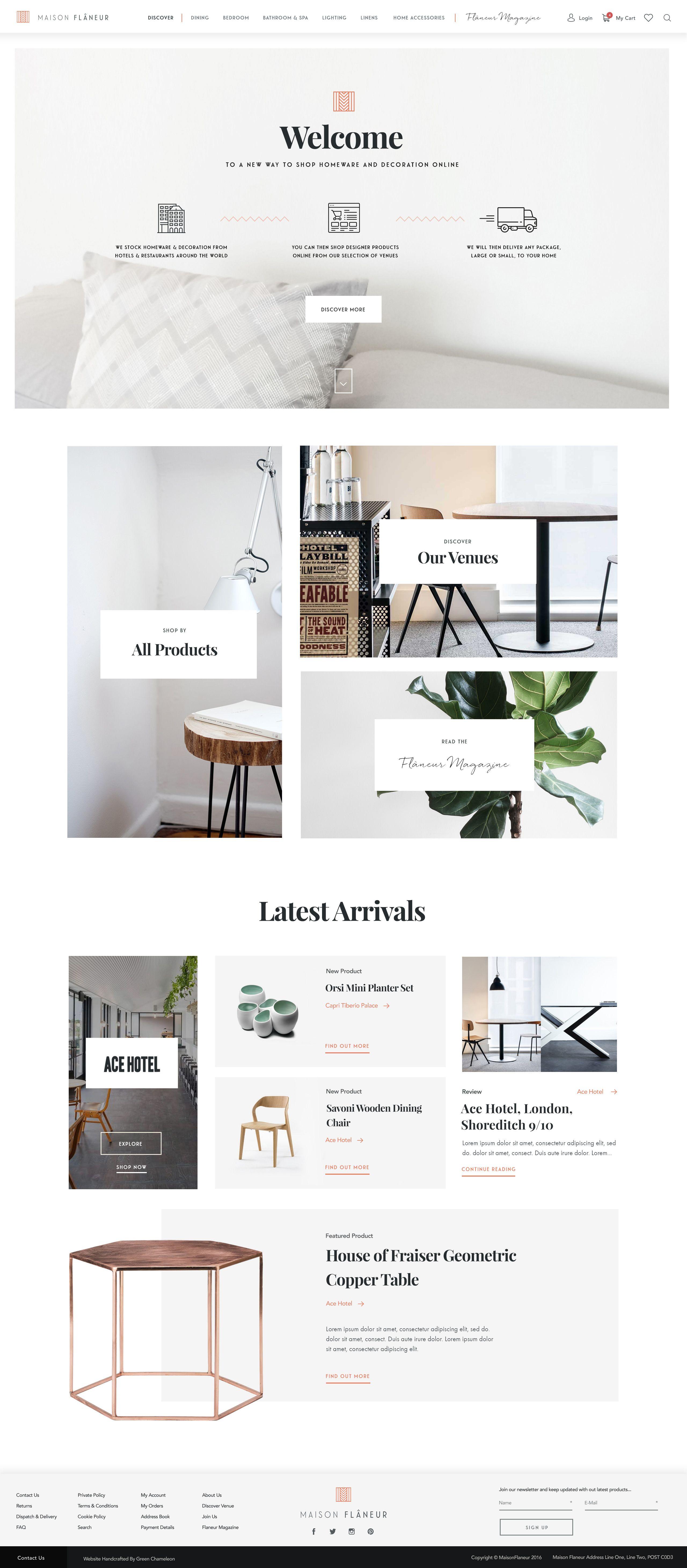 Icon Shot X Light Maison Flaneur Homepage Website Design