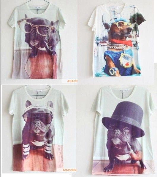 Women/men fashion summer 3D animal t shirt cool dog plus ...