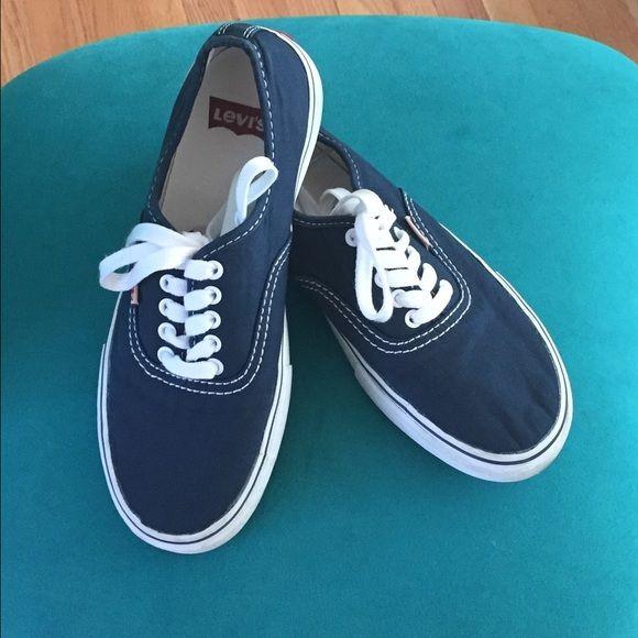 Levi's Canvas Blue Sneakers Levi's Canvas Blue Sneakers. Sneakers have white Soles & laces. Have a small red tag w/label Levi. True 2 Size Levi's Shoes Athletic Shoes