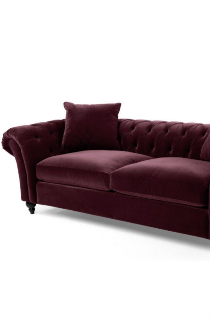 Bardot Sofa Aus Merlotrotem Samt Du Liebst Den Chesterfield Stil