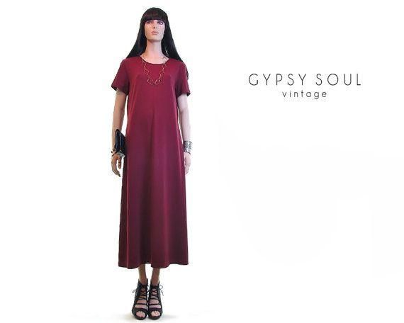 marsala minimalist dress  wine dress by #GypsySoulVintage #Vintage