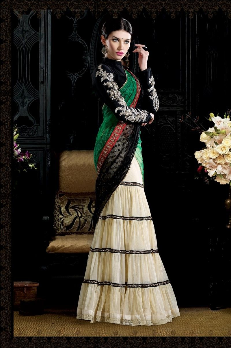 Melodic Buttercream Lehenga Choli tem Code: VI03795 Color: Buttercream Fabric: Net Work: Bead, Sequins, Stones US$599.95
