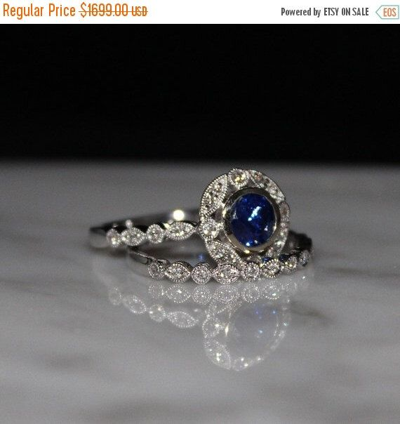 Ceylon Blue Sapphire Engagment Ring Set Bridal Set Wedding Ring