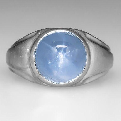 Vintage Mens 6 75 Carat Blue Star Sapphire Ring Heavy Platinum Star Sapphire Ring Vintage Sapphire Ring Blue Star Sapphire Ring