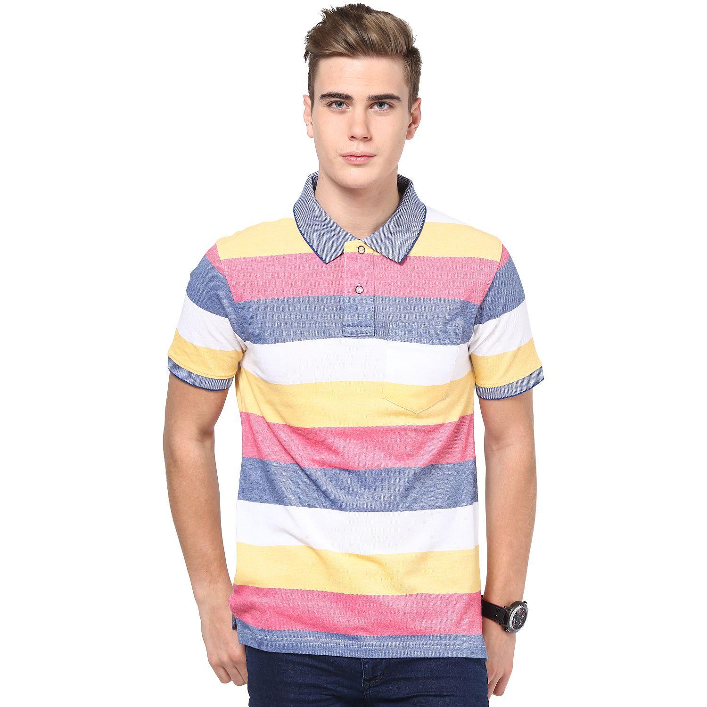 Light Blue Pink Yellow Cream And White Striped Mudo Polo
