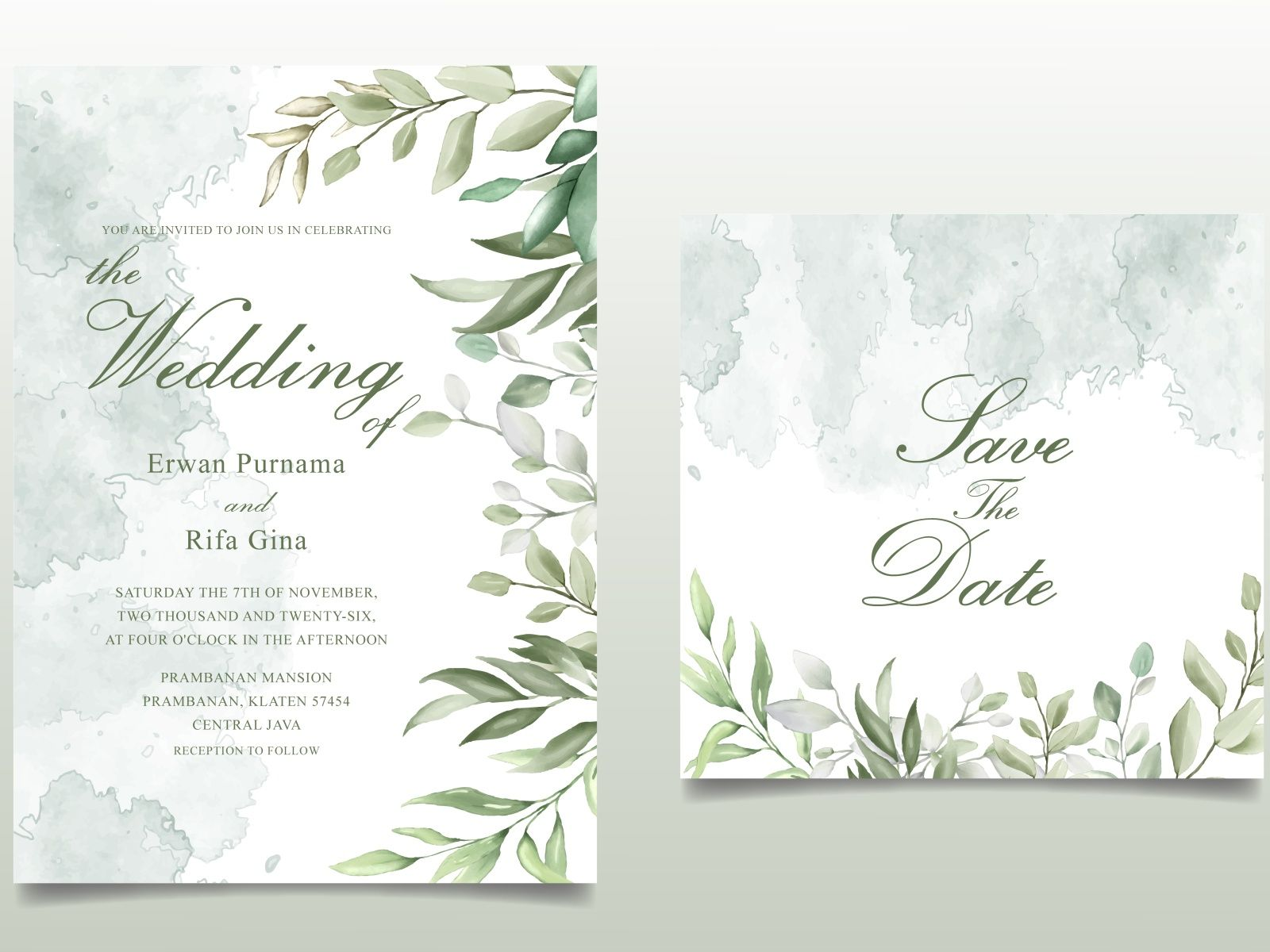 Elegant Hand Drawn Wedding Invitation Card With Beautiful Leaves Floral Wedding Invitations Hand Drawn Wedding Invitations Watercolor Floral Wedding Invitations
