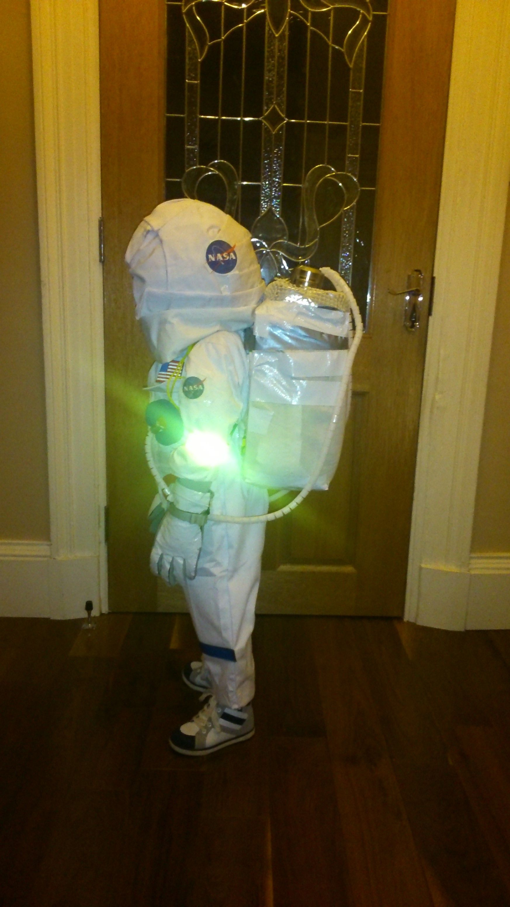 Homemade astronaut costume fancy dress - side view
