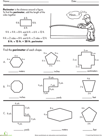 Finding The Perimeter Perimeter Worksheets Find The Perimeter Area And Perimeter
