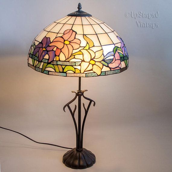 Vintage 1980s 90s Large Tiffany Style Lamp In Pearlescent Tiffany Style Lamp Stained Glass Table Lamps Tiffany Style