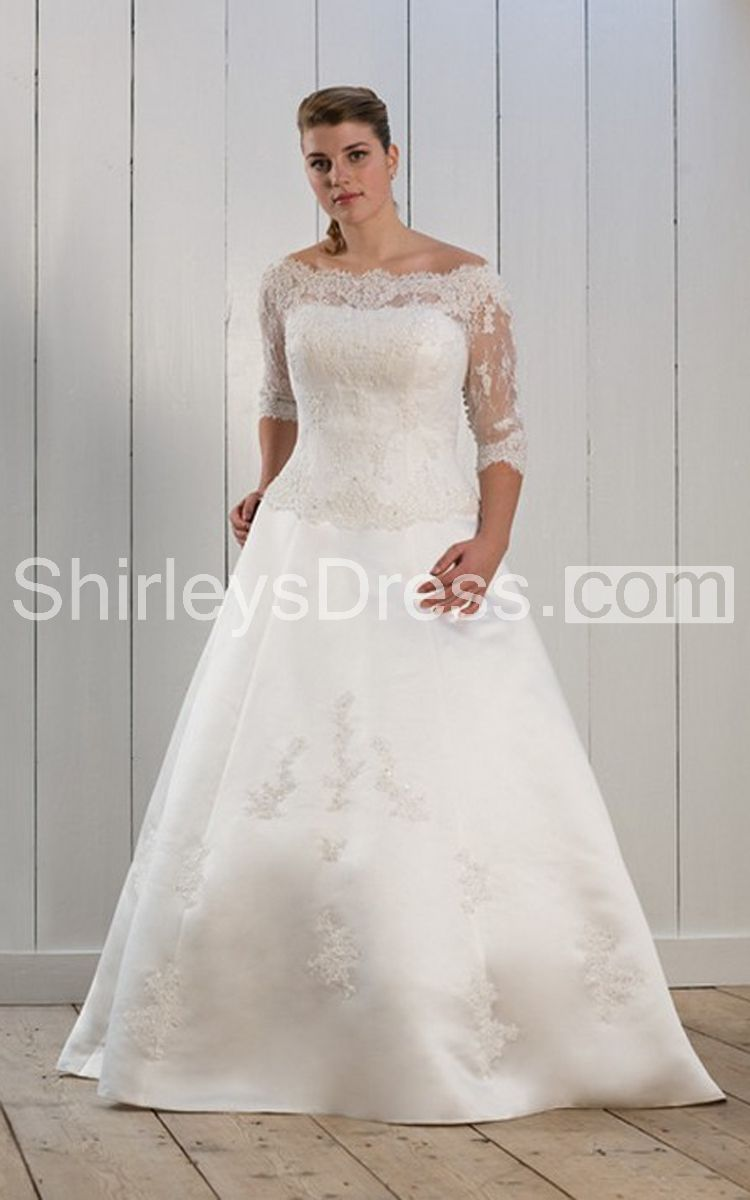 Short lace sleeve bateau neck long satin dress wedding dresses