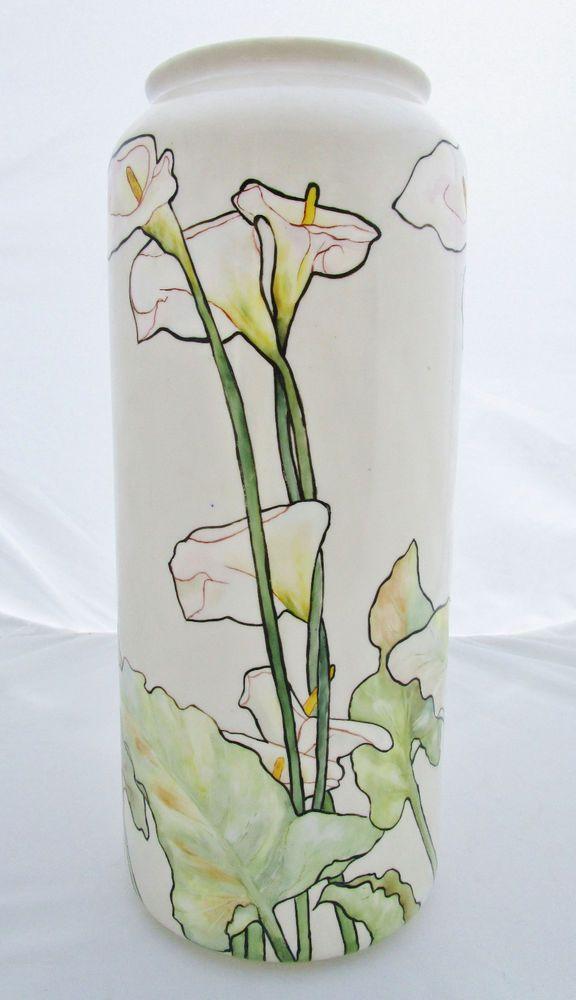 Antique Willets American Belleek Large Vase Floral Artist Signed Art