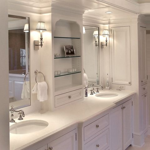 tower next to vanity design ideas, pictures, remodel and