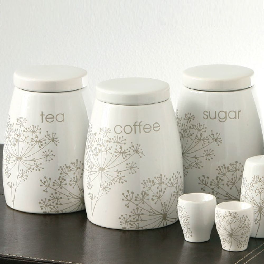 Ceramic Tea Coffee Sugar Jars Canister Set of 3 Kitchen Storage Pots ...