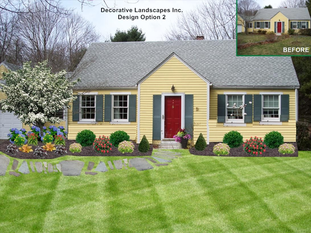 Cottage style landscape on ranch style home dighton ma for Front yard landscape design photos