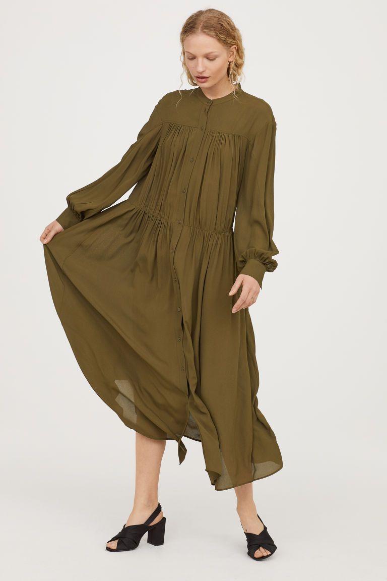 7e94d620ddb2 Wide maxi dress - Khaki green - Ladies