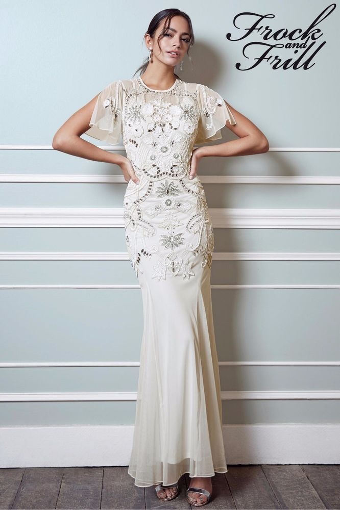 Frock and frill bridal wedding embellished vintage dress gown ivory ...