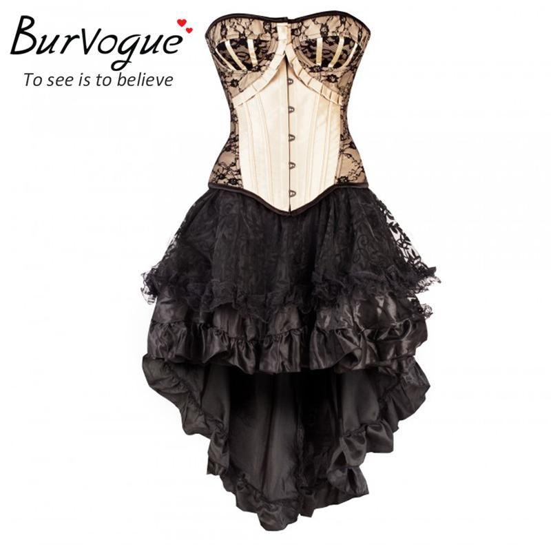 83b8d79c56 2016 Burvogue Women Steampunk Corsets Dress Vintage Bustier Top Gothic  Overbust Corset Dress Waist Corset Sexy Lace Waist Trainer From Cfashions