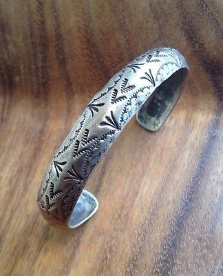 Amazing Old Pawn Navajo Sterling Silver Stamped Bracelet