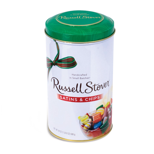 Russell Stover Satins Chips Hard Candy 24 Oz Tin For Fresh Candy And Great Service Visit Us At Www Allcitycandy Com Russell Stover Hard Candy Stover