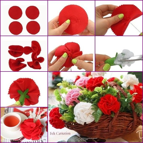 Diy Easy Felt Carnation Flower Basket Flower Crafts Felt Flowers Diy Paper Flowers
