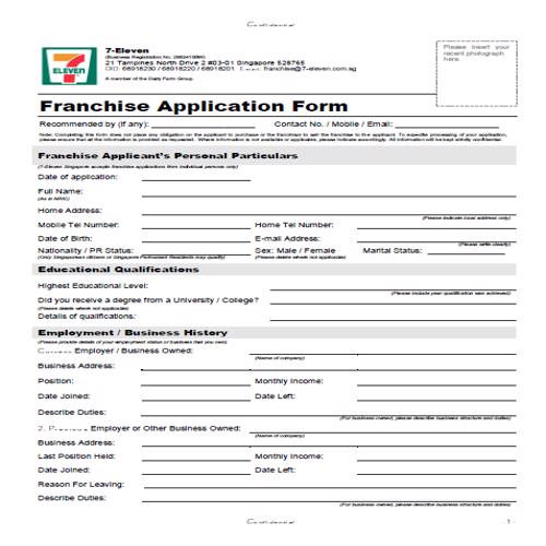 50 FREE Official Franchise Application Form Templates