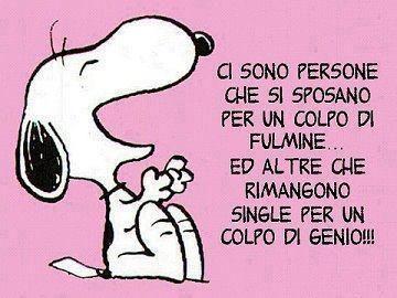 Frasi Matrimonio Yahoo.Tag Colpo Di Fulmine Genio Matrimonio Satira Single Snoopy