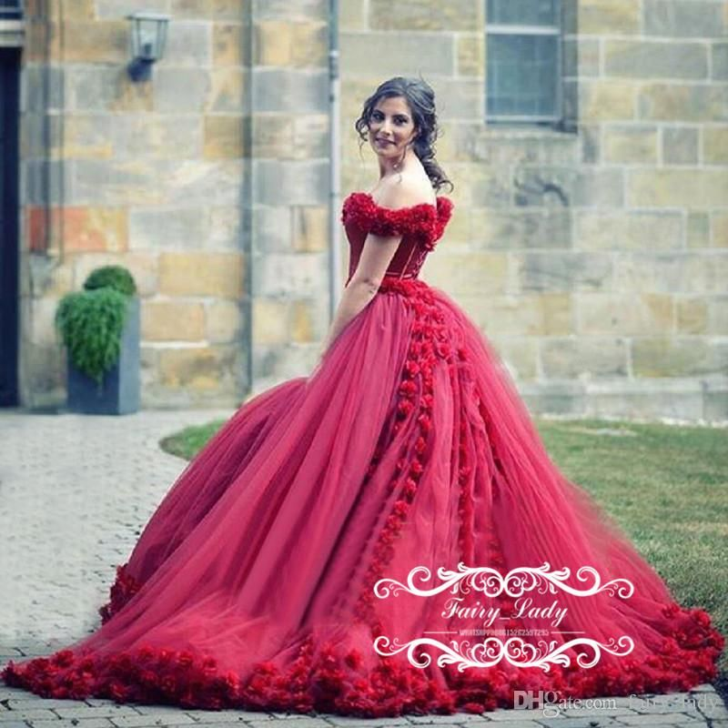 3D-Floral Appliques Flowers 2017 Gorgeous Burgundy Wedding Dresses ...