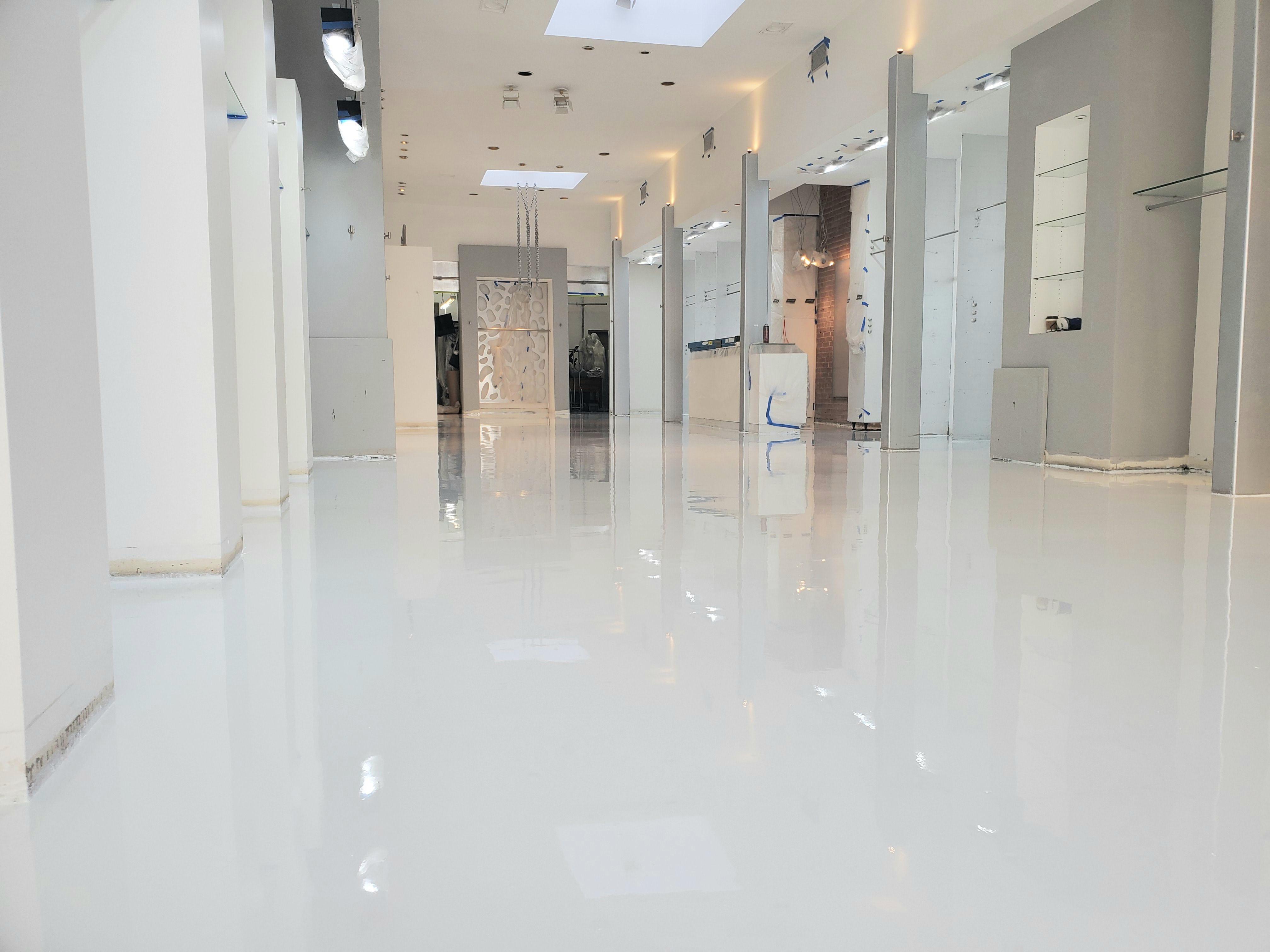 White Epoxy Retail In 2020 Epoxy Floor Floor Installation Flooring