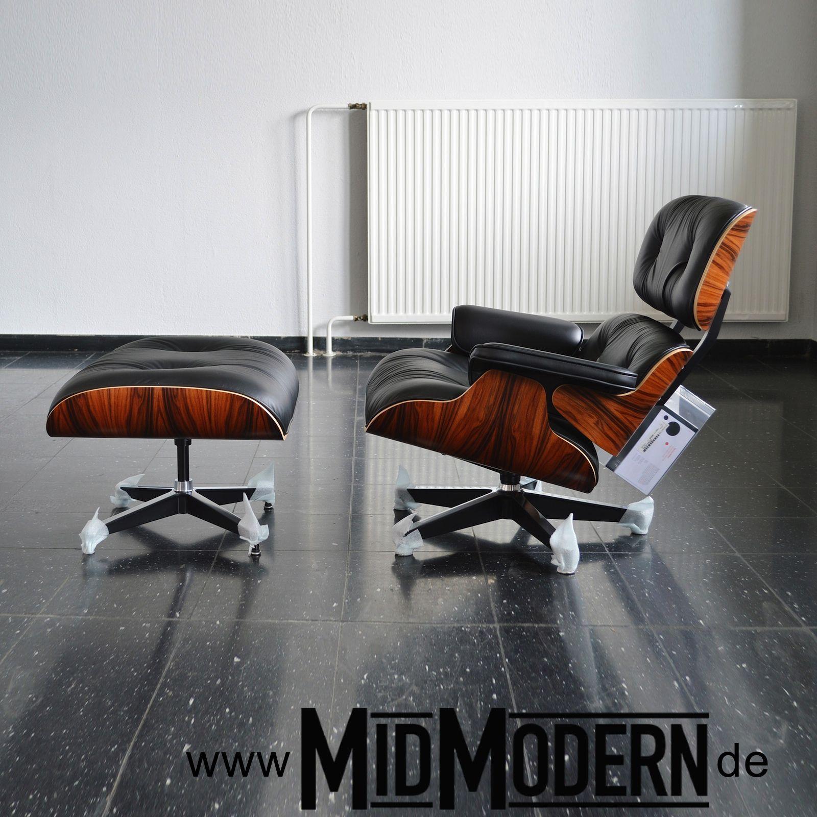 Eames Lounge Chair Ottoman Herman Miller 2013 Santos Palisander Black Anilin Leather Möbeldesign Modernes Möbeldesign Moderne Sessel