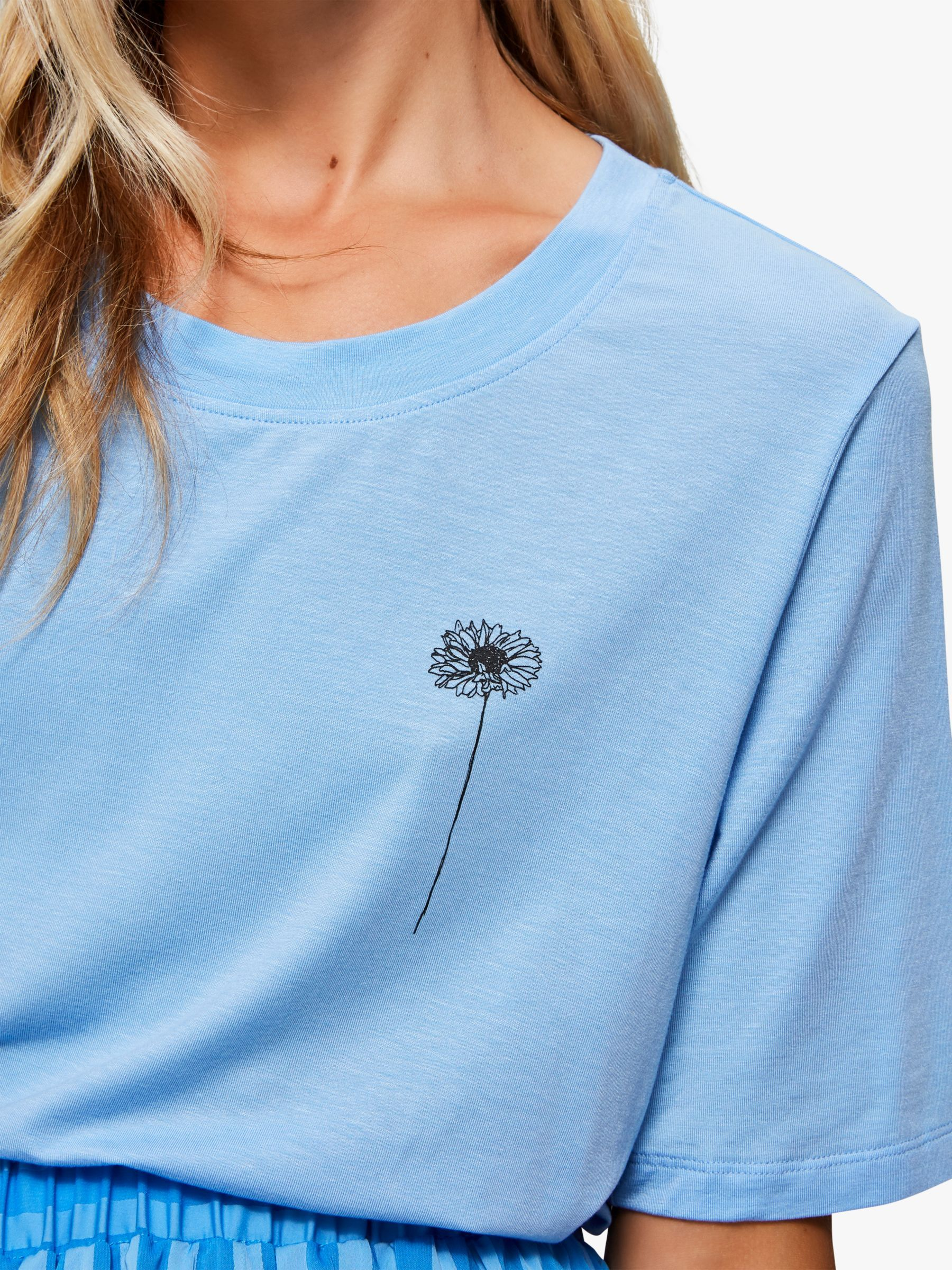 Selected Femme Alexandra Floral Embroidered T-Shirt, Della Blue