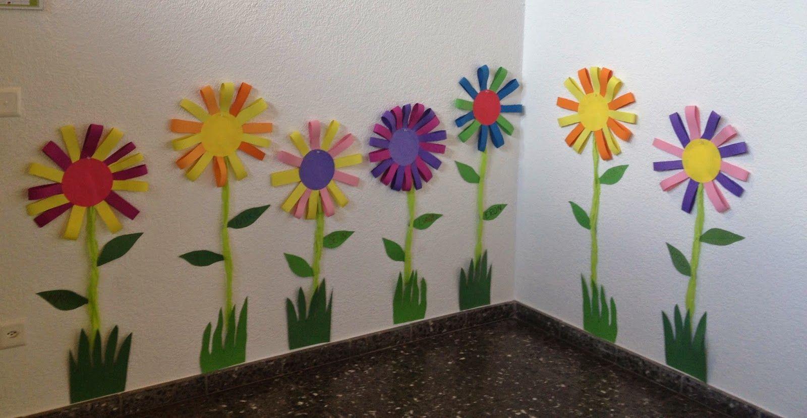 Klassenkunst sommerliche blumen fr hling pinterest basteln kunst und kindergarten basteln - Fensterdeko sommer ...
