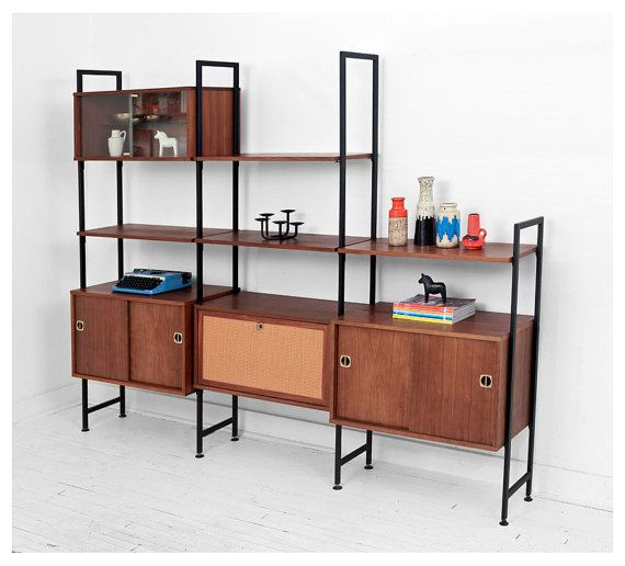 Vintage Modular Wall Unit Mid Century Modern Shelving by