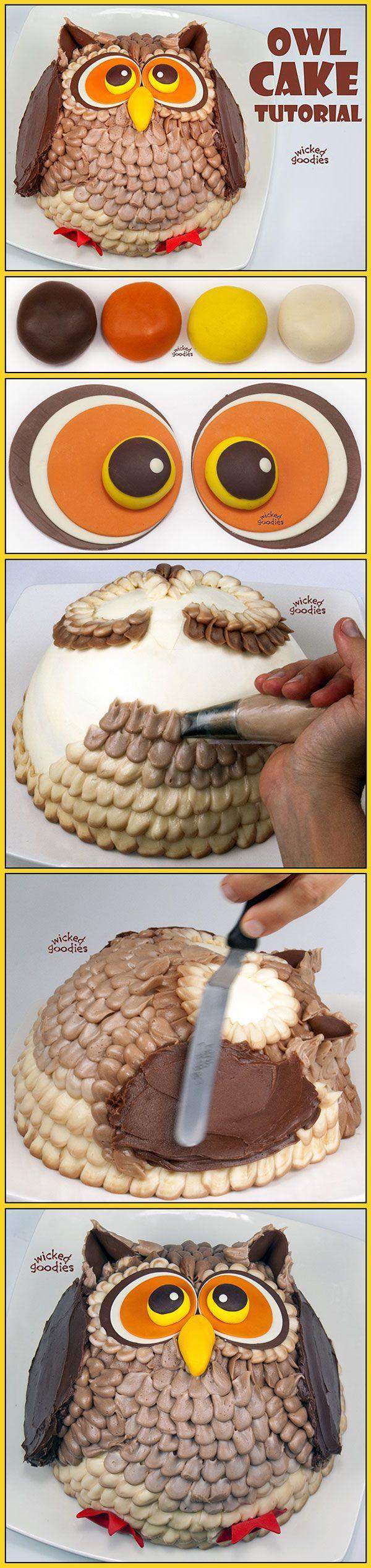 How to Make an Owl Cake Owl cakes Cake tutorial and Goodies