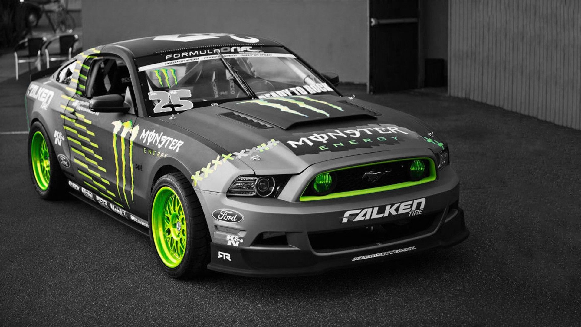 Green Cars Ford Mustang Selective Coloring Monster Energy Sports