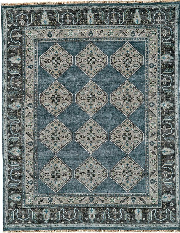 Flaxberry Oriental Hand Knotted Wool Dark Blue Area Rug 2020