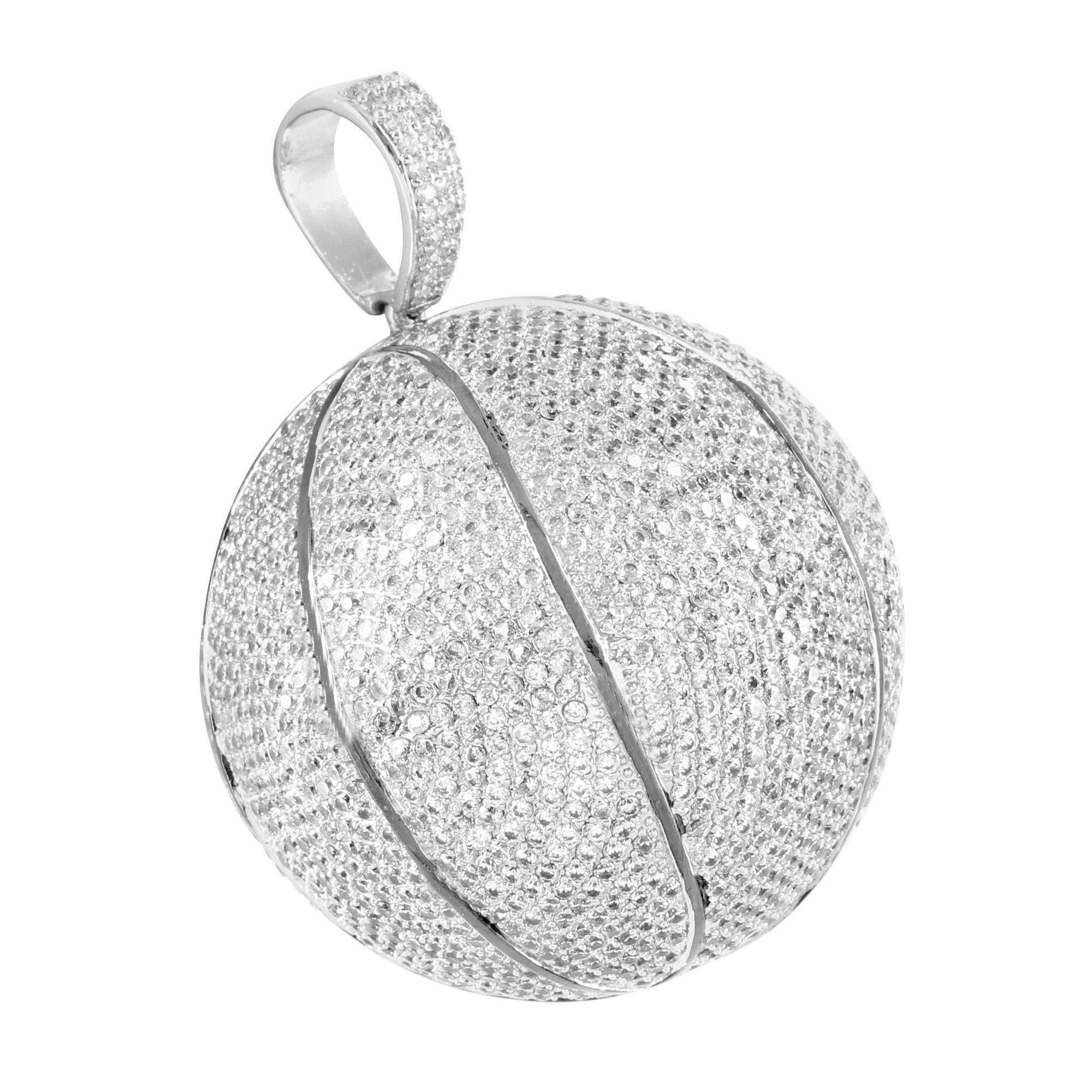 Nba basketball pendant 14k white gold finish lab diamond products nba basketball pendant 14k white gold finish lab diamond mozeypictures Gallery