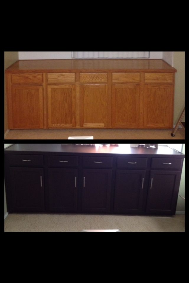 Before And After Cabinet Makeover. Used Rustoleum In Satin Espresso And  Added Hardware. DIY.