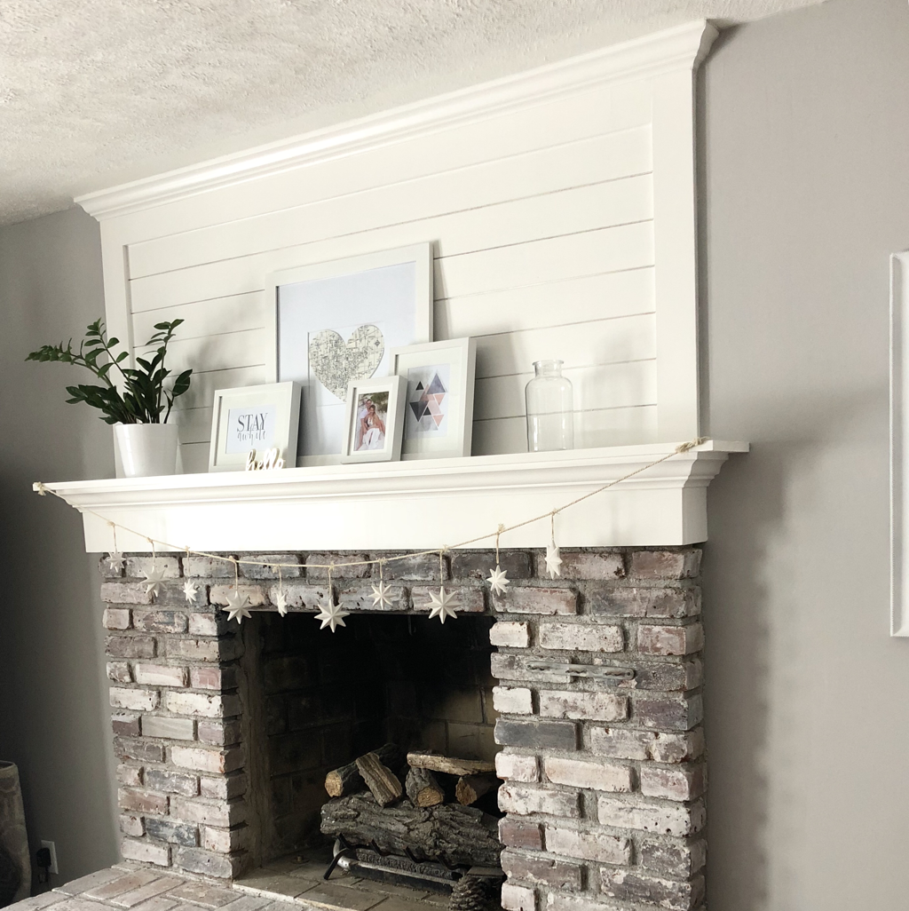 Brick Fireplace Makeover With Shiplap And Whitewash Blush And Batting Blog Blush And Brick Fireplace Makeover Fireplace Makeover White Wash Brick Fireplace