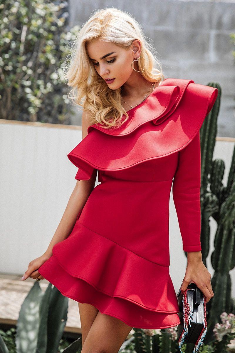 dd13c36e43c Simplee One shoulder ruffle bodycon dress Women elegant long sleeve autumn  slim dress Female sexy party club dress vestidos 2017 – PasangSurut