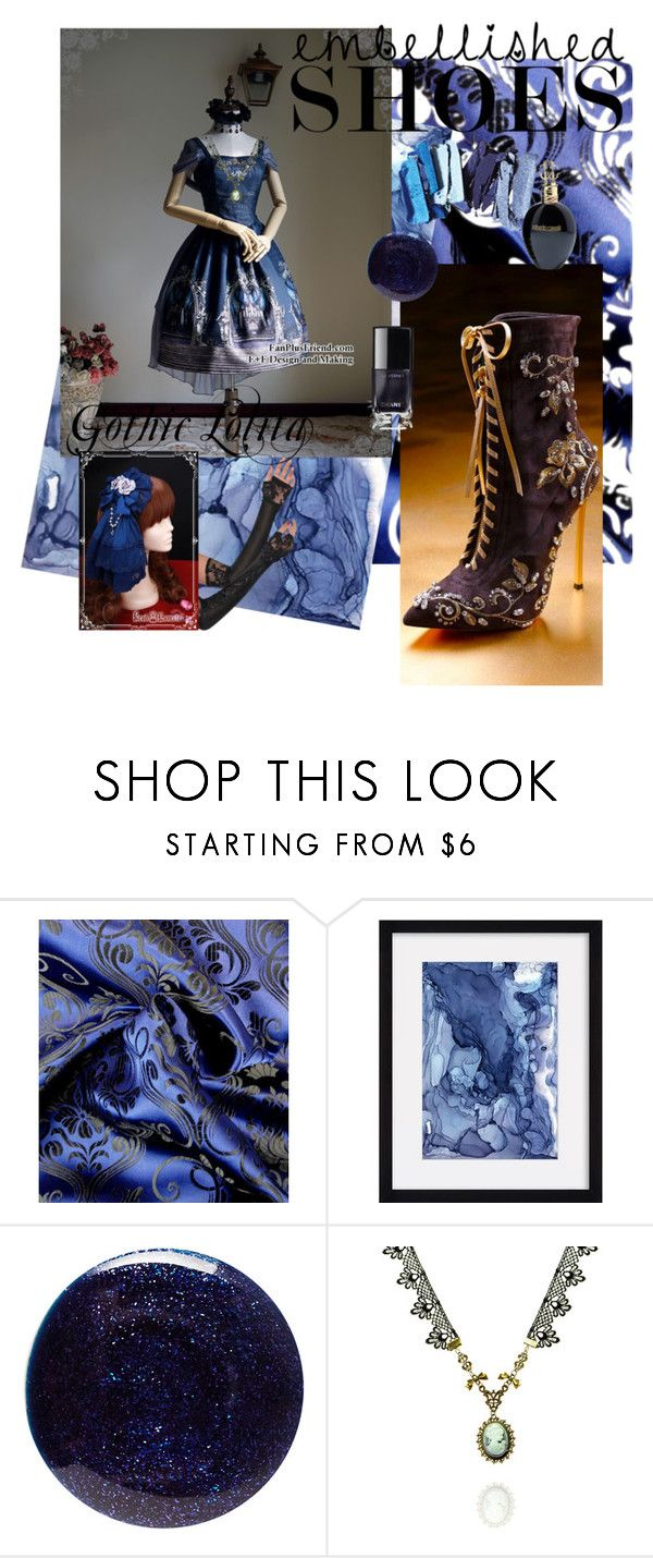 """""""Midnight Blue Lolita~"""" by kawaiiabbyleigh ❤ liked on Polyvore featuring Lauren B. Beauty, WithChic and Roberto Cavalli"""
