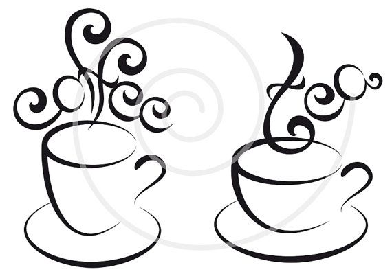 Coffee and tea cups with hearts digital clipart clip by ...
