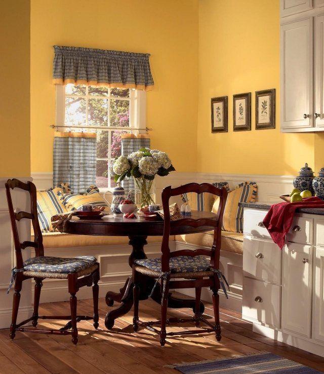 farbe kche streichen landhausstil gelb satt sonnig
