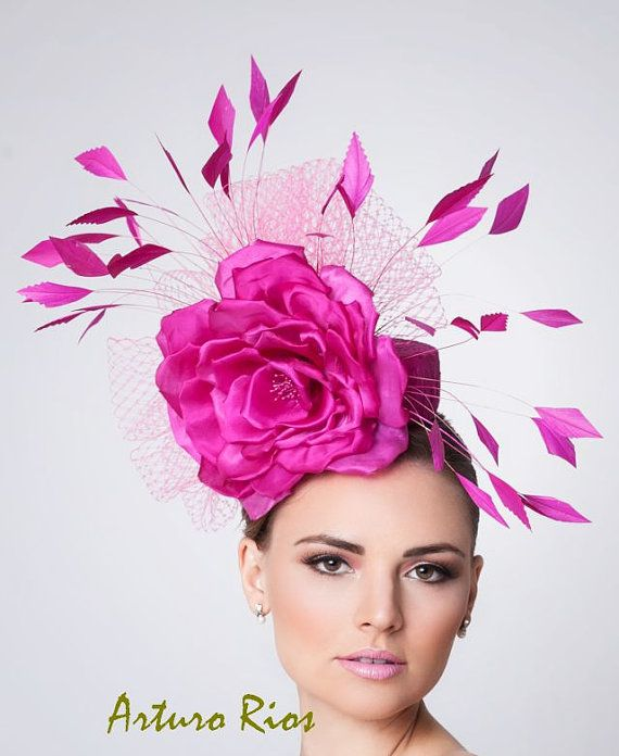 c120e1f34bd83 Hot Pink Fascinator Cocktail Hat Kentucky derby hat by ArturoRios ...
