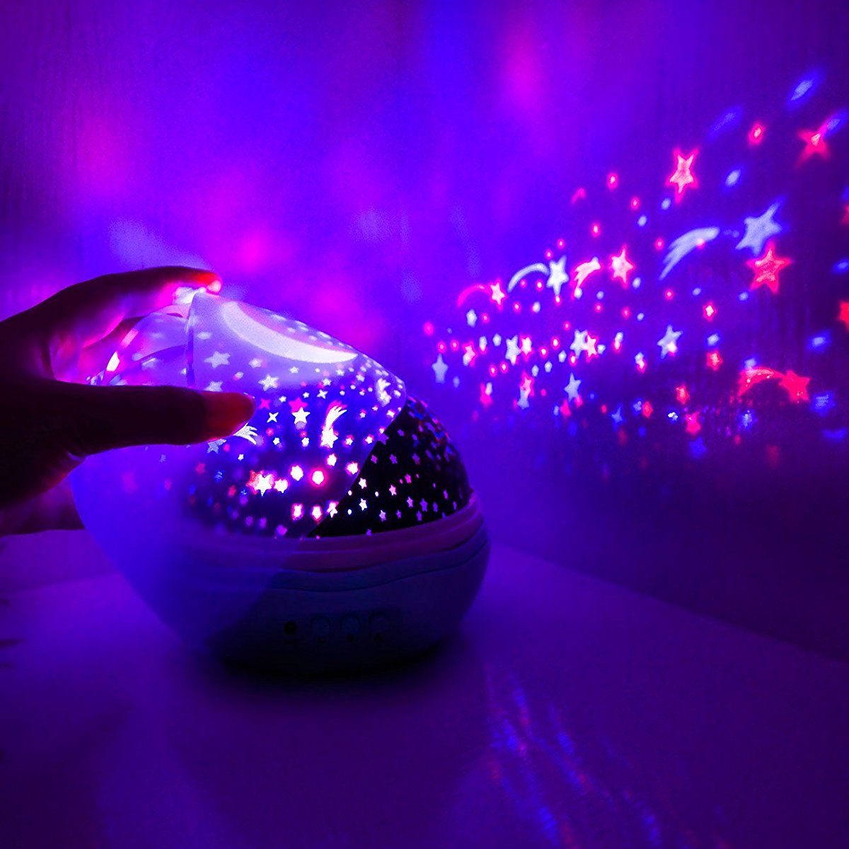 Music Multicolor Moon Star Projector Night Light Rotating Starry