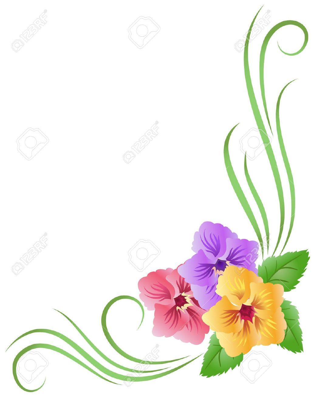 Corner floral ornament with pansy Stock Vector border flower floral