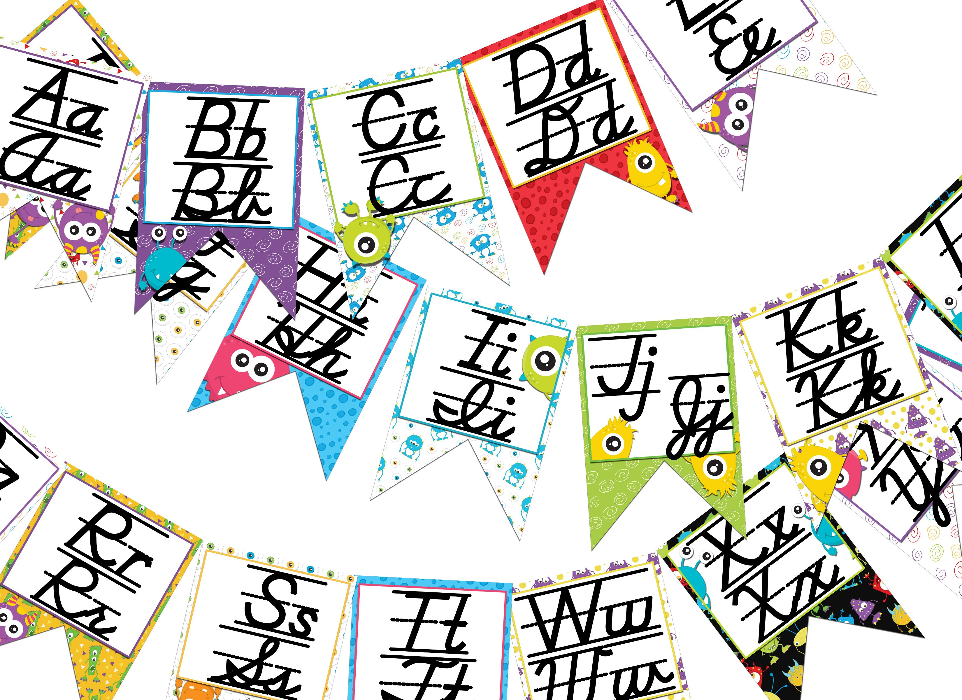 Monster Themed D Nealian Print And Cursive Alphabet Banner
