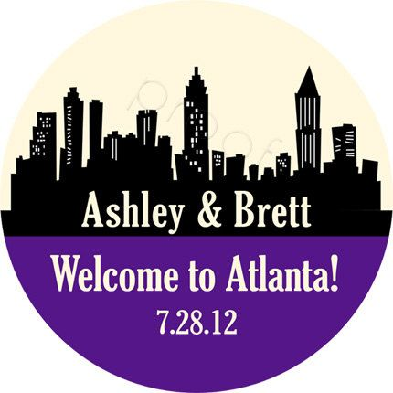 Custom wedding stickers atlanta skyline personalized by partyink