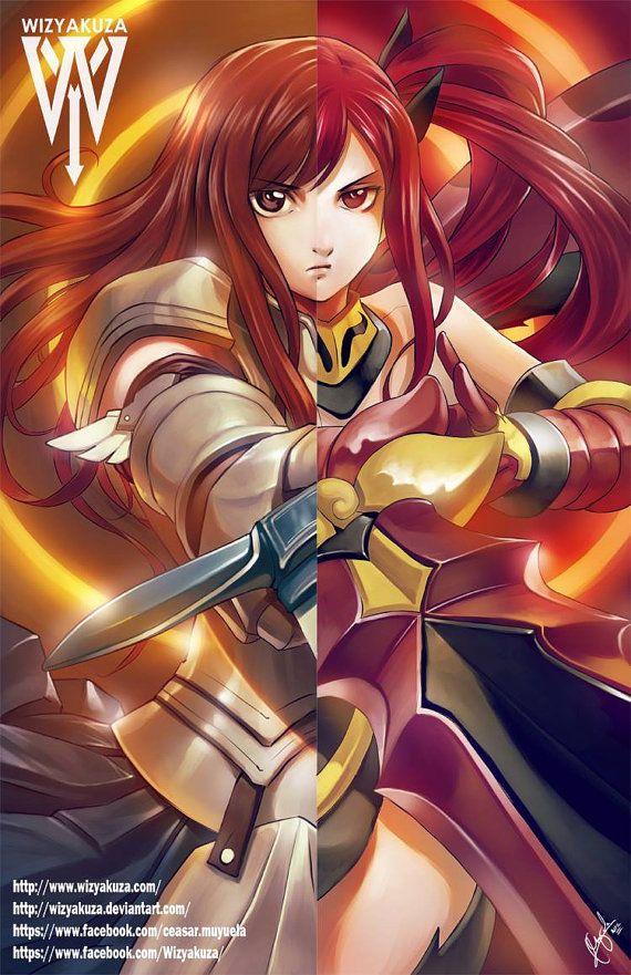 erza scarlet amp flame empress armor split fairy tail by