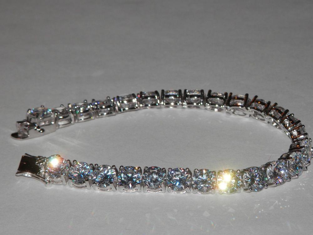 Tennis Bracelet w/ CZ's ~STUNNING! ~ Rhodium Plated ~ 8 Inch #AimeesTreasures #Tennis